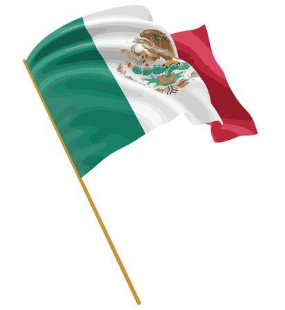 bandera de mexico: bandera mexicana 3D con textura de la superficie de la tela. Fondo blanco. Imagen con el camino de recortes