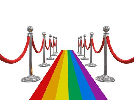 Multi Colored Carpet and stanchions. Image with clipping path