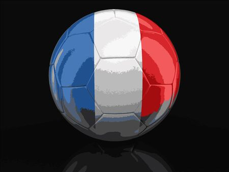 french culture: Soccer football with French flag. Image with clipping path