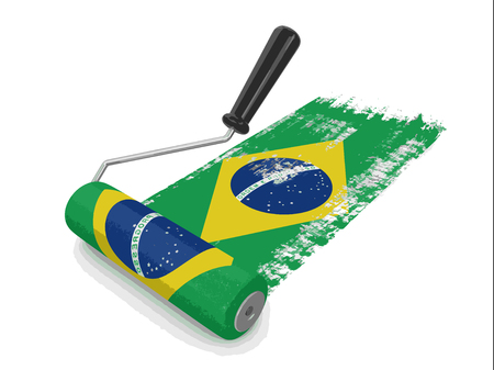 Paint roller with Brazilian flag. Image with clipping path