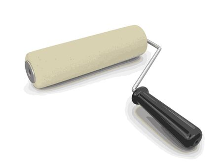 paint roller: Paint roller. Image with clipping path Illustration