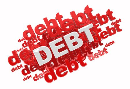 Word debt. Image with clipping path Illustration