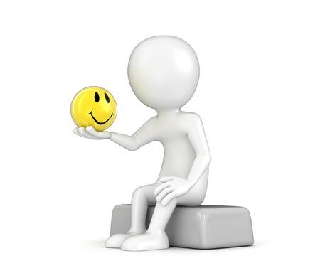 Man and smiley. Image with clipping path
