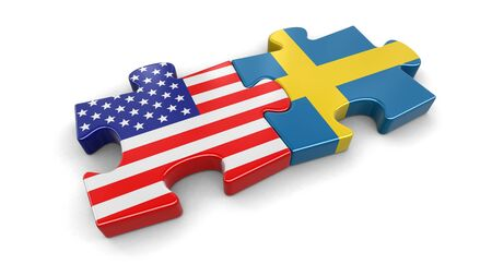 USA and Sweden puzzle from flags.