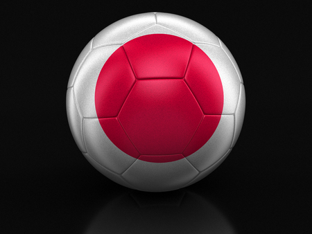 bandera japon: Soccer football with Japanese flag. Image with clipping path