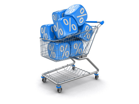 Shopping Cart and Dices with percent sign. Image with clipping path