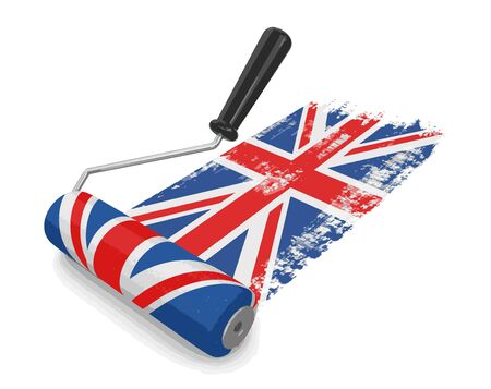 Paint roller with UK flag. Image with clipping path Illustration