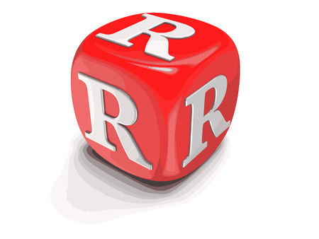 Dices with letter R. Image with clipping path