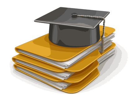Graduation cap on Folders. Image with clipping path