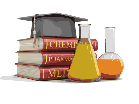 Stack of textbooks and flasks. Image with clipping path Imagens - 70119097