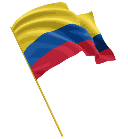 3D bandera colombiana con textura de la superficie de la tela. Fondo blanco. Imagen con trazado de recorte Foto de archivo - 70119099
