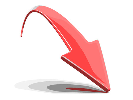 arranging: 3d arrow downwards. Image with clipping path