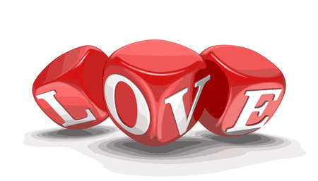 love image: Dices and love. Image with clipping path Illustration