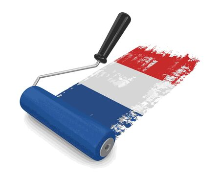 Paint roller with French flag. Image with clipping path Illustration