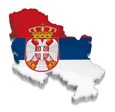 Map of Serbia. 3d render Image. Image with clipping path Illustration
