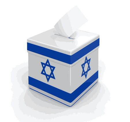 israeli flag: Ballot Box with Israeli flag. Image with clipping path