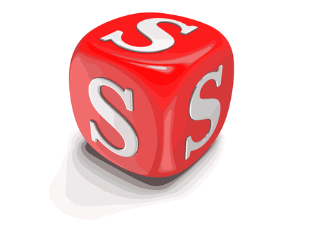 Dices with letter S. Image with clipping path