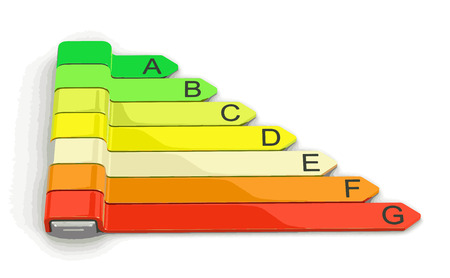 Energy efficiency concept with rating chart. Image with clipping path Illustration