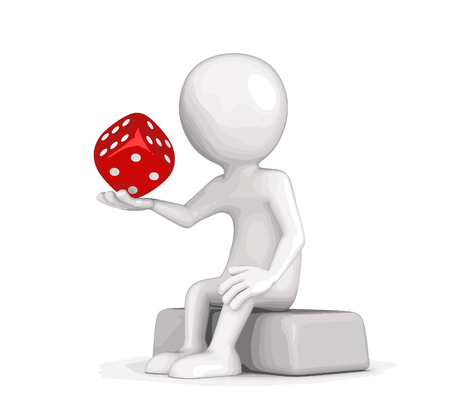 Man and dice. Image with clipping path Illustration