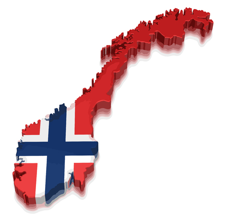 Map of Norway. 3d render Image. Image with clipping path
