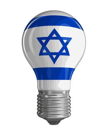 israeli flag: Light bulb with Israeli flag. Image with clipping path