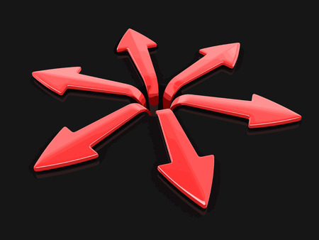 different directions: 3d image of arrows in different directions. Image with clipping path Illustration