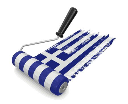 Paint roller with Greek flag. Image with clipping path