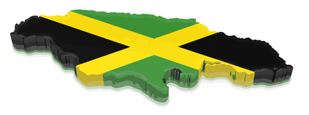 Map of Jamaica. 3d render Image. Image with clipping path Illustration