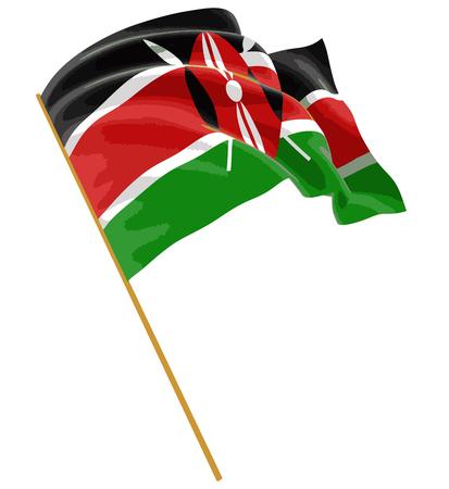 kenya: 3D flag of Kenya with fabric surface texture. White background. Illustration