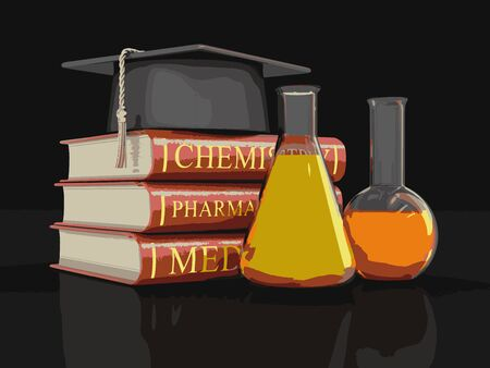 flasks: Stack of textbooks and flasks. Image with clipping path Illustration