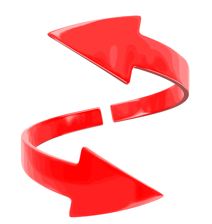 two lane highway: Two arrows. Image with clipping path Illustration