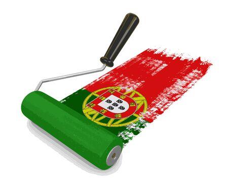 drapeau portugal: Rouleau à peinture avec le drapeau portugais. Image avec un tracé de détourage