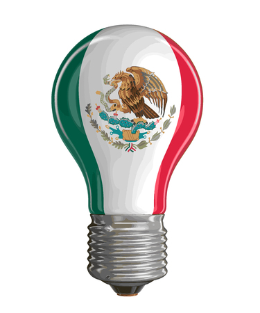 drapeau mexicain: Light bulb with Mexican flag. Image with clipping path