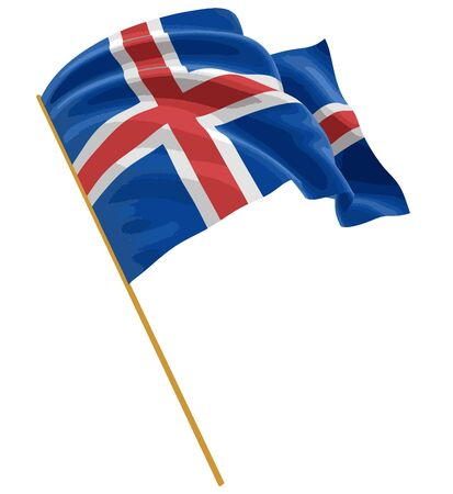 3D Icelandic flag with fabric surface texture. White background. Image with clipping path