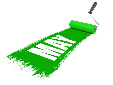 Paint roller with may. Image with clipping path Illustration