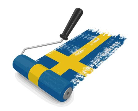 paintroller: Paint roller with Swedish flag. Image with clipping path
