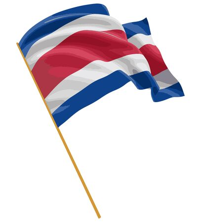 3D Costa rica flag with fabric surface texture. White background.