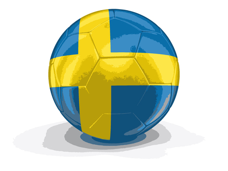 Soccer football with Swedish flag. Image with clipping path