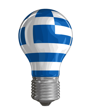 greek flag: Light bulb with Greek flag Image