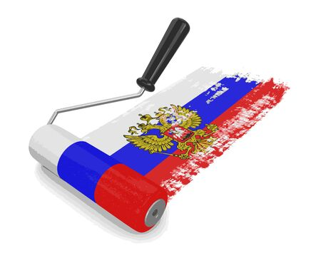 russian flag: Paint roller with Russian flag.