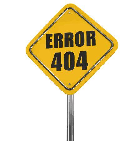 error message: Error 404 road sign.