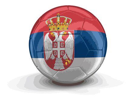 soccer team: Soccer football with Serbian flag.