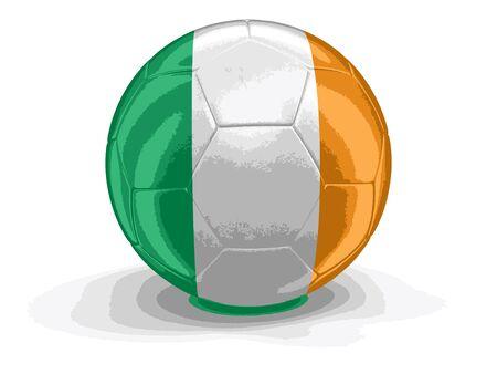 irish flag: Soccer football with Irish flag. Illustration