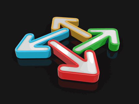 different directions: 3d image of arrows in different directions.