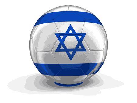 israeli: Soccer football with Israeli flag. Illustration