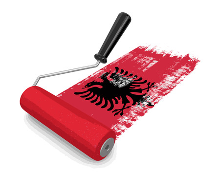 paintroller: Paint roller with Albanian flag. Illustration