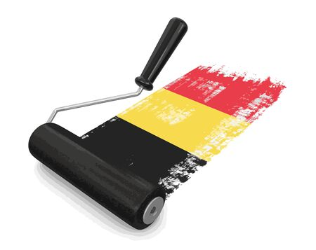 Paint roller with Belgium flag.