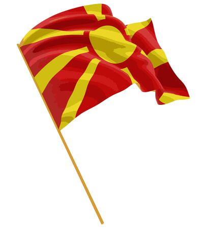 macedonian flag: 3D Macedonian flag with fabric surface texture. White background. Illustration