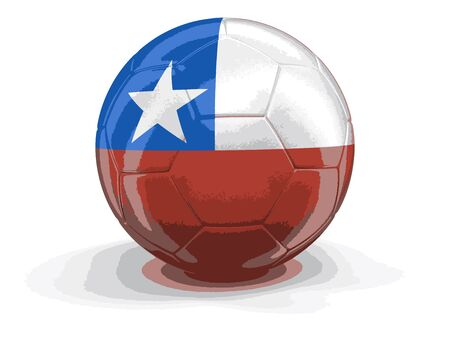 bandera chilena: Soccer football with Chilean flag. Image with clipping path