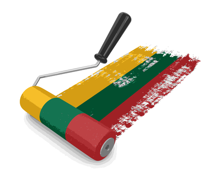 paintroller: Paint roller with Lithuanian flag. Image with clipping path
